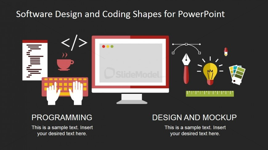PowerPoint Shapes Featuring Graphic Design and Web Development