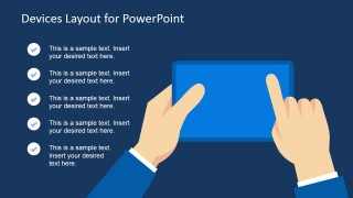 Picture of Hands Touching a Tablet Device in PowerPoint