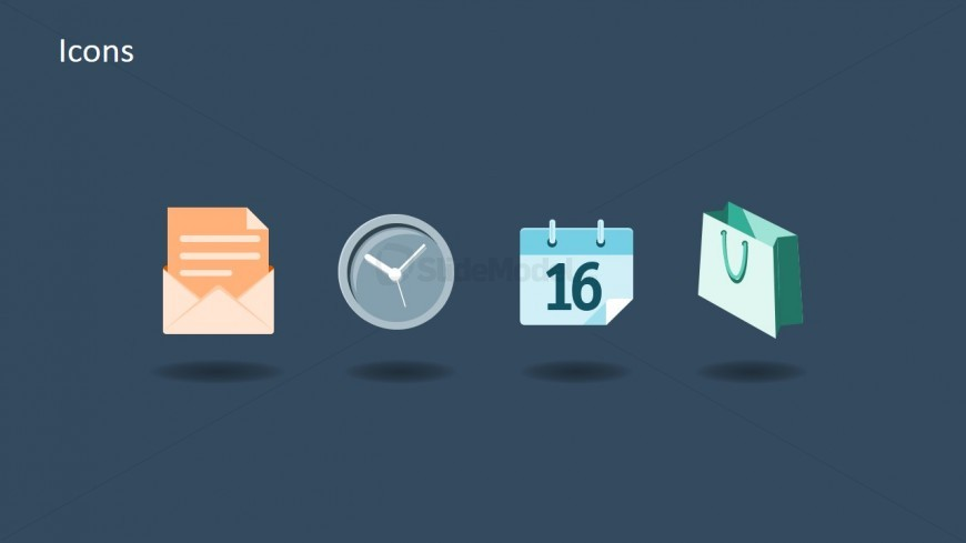 4 Flat PowerPoint Icons for Time Management and Sales