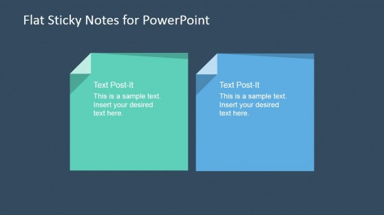 Two Sticky Notes with Flat Style