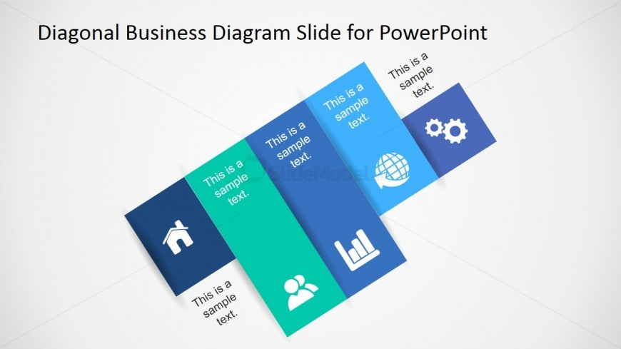 Diagonal Steps Diagram with PowerPoint Clipart