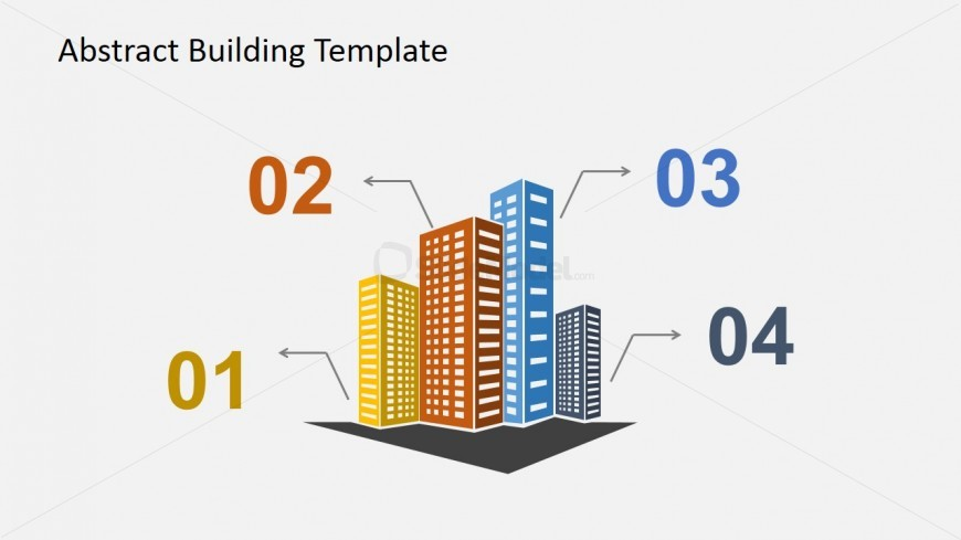 Buildings with Numbers PowerPoint Clipart