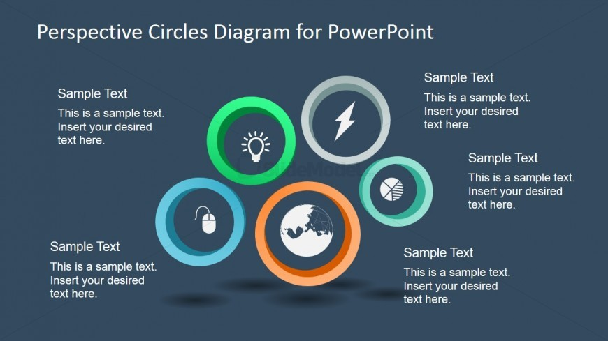 5 Circular Perspective Diagram for PowerPoint