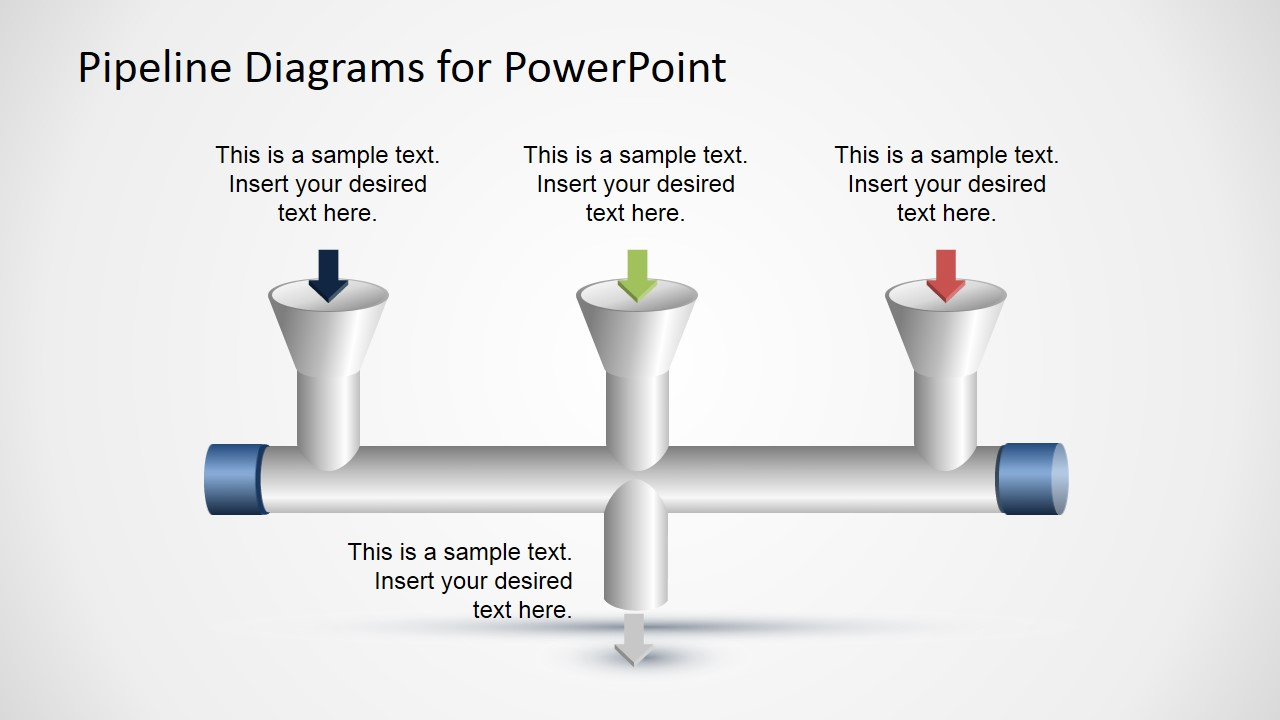 3 input to 1 output horizontal pipeline diagram for powerpoint slidemodel - Input Process Output Diagram Template