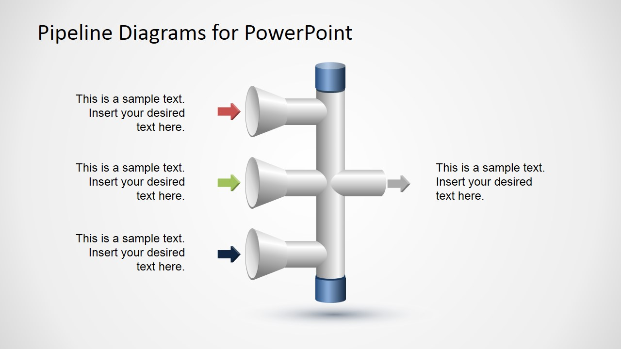 3 Input to 1 Output Vertical Pipeline Diagram for PowerPoint