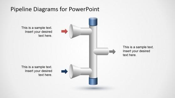 2 Input to 1 Output Vertical Pipeline Diagram for PowerPoint