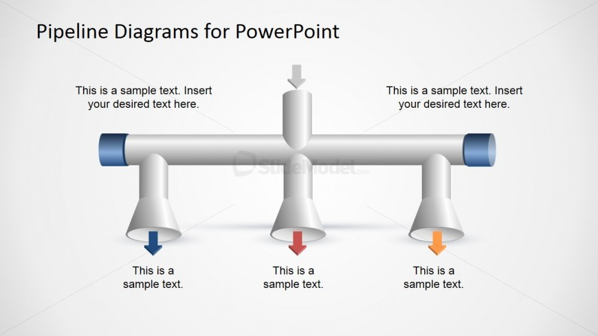 1 Input to 3 Output Horizontal Pipeline Diagram for PowerPoint
