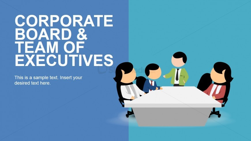 Four Businesspeople around a Table Clip Art