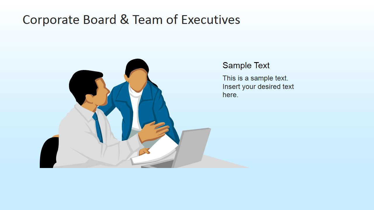 Male and Female Executives Discussing Clipart