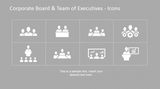 Organizational Set-up with Eight PowerPoint Icon Placeholders