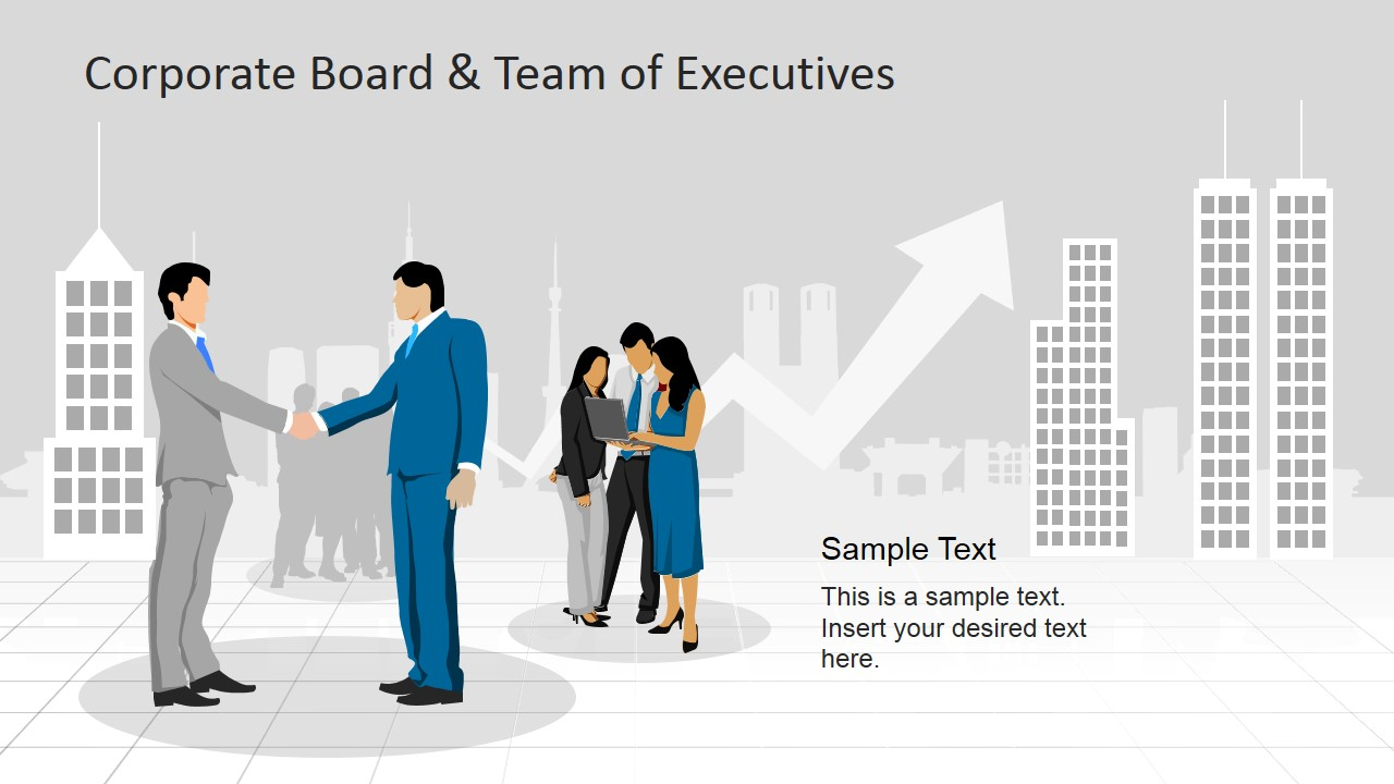 Five Executives and Skyline Clipart