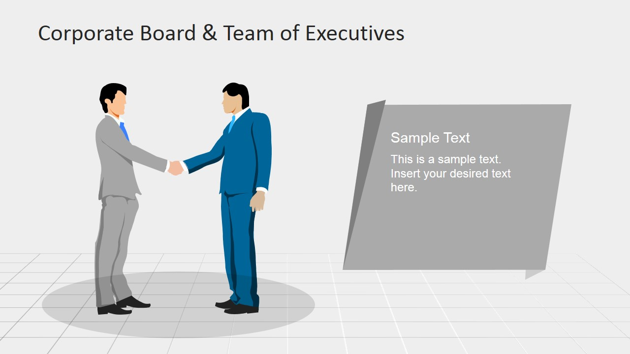Two Executives in Handshake PowerPoint Shape