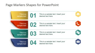 PowerPoint List of Five Items Labeled with Paper Markers Shapes