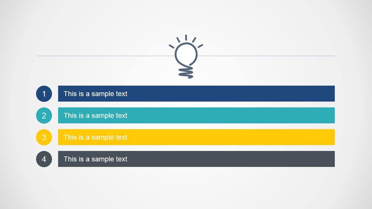 4 Steps Bright Idea Agenda Slide Design