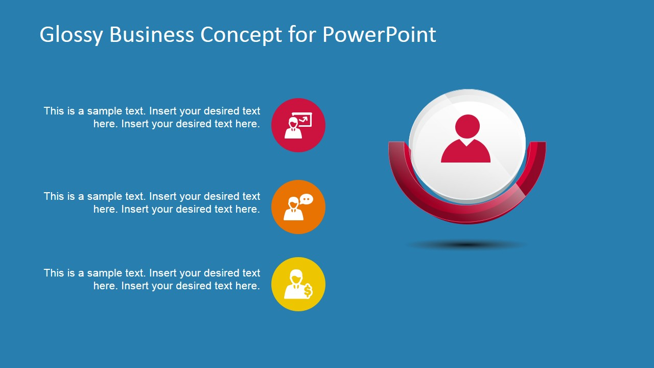 Red Business 3D Glossy Concept for PowerPoint