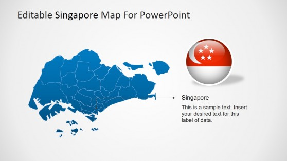 Map of Singapore For PowerPoint with Highlighted Capital