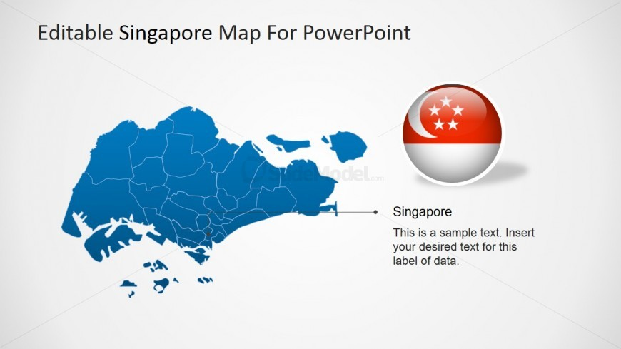 PowerPoint Map of Singapore with Pointer to Capital