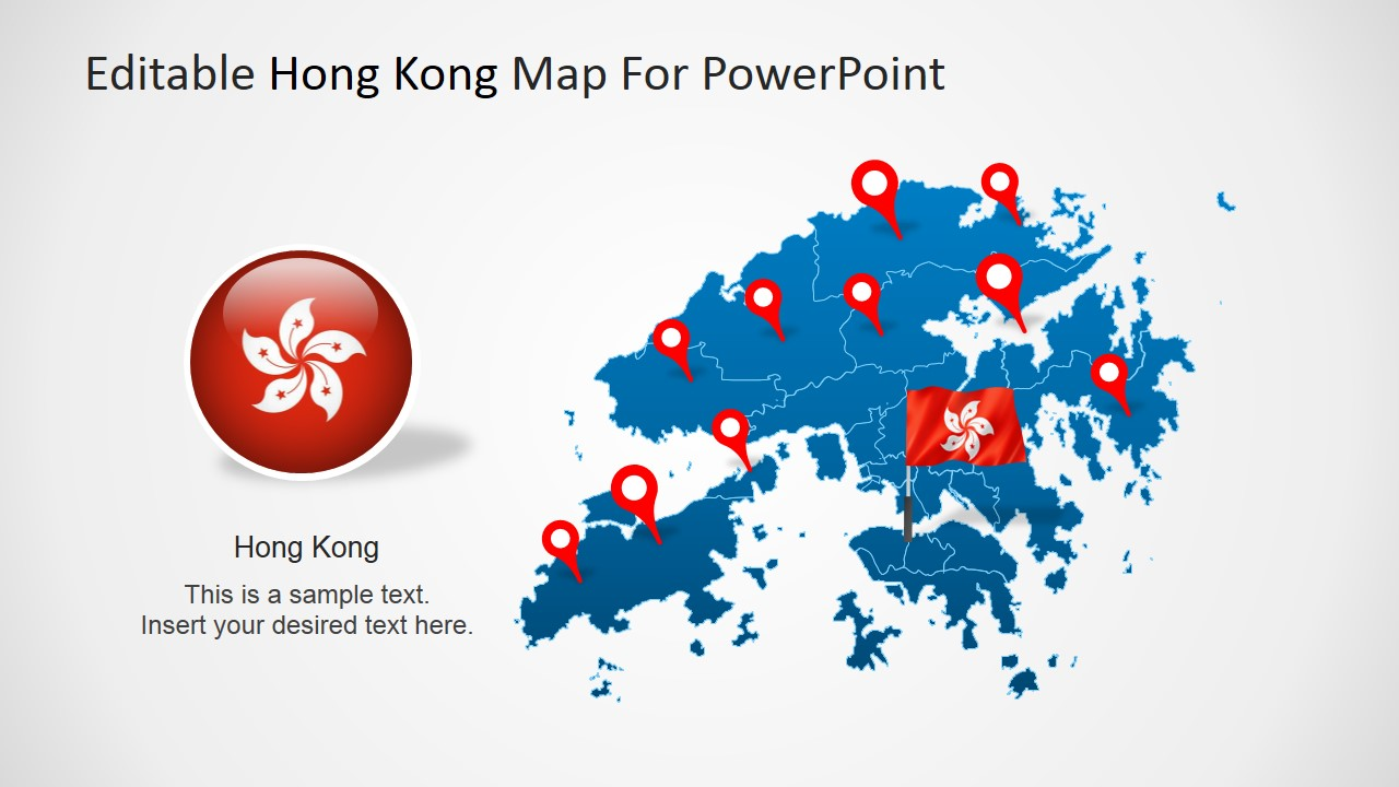 Hong Kong Flag Clipart with Map and GPS Markers for PowerPoint