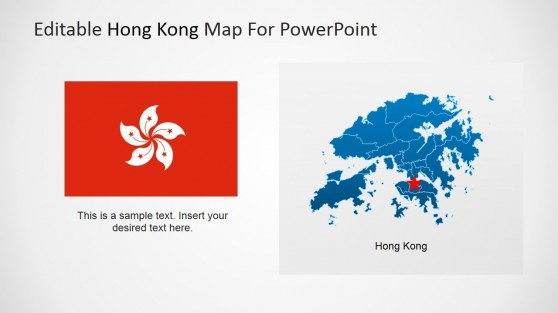 Hong Kong Flag Clipart and City Star Marker in Map