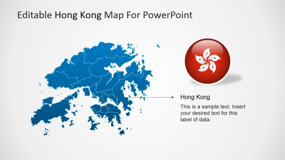 Hong Kong Clipart Badge featuring PowerPoint Map