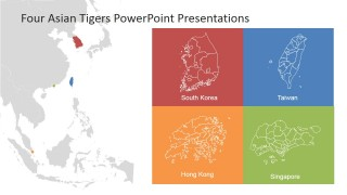 PowerPoint Map of Four Asian Tigers