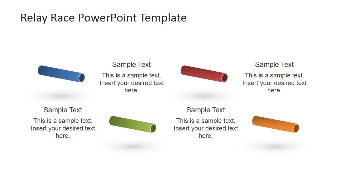 Relay Race Batons PowerPoint Clipart