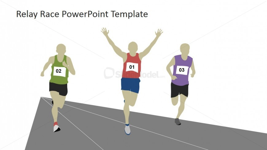 Three Runners on the Tracks PowerPoint Clipart