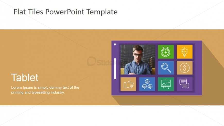 Flat Tiles Tablet for PowerPoint
