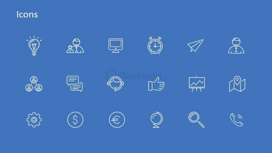 Generic Icons with Blue Backdrop