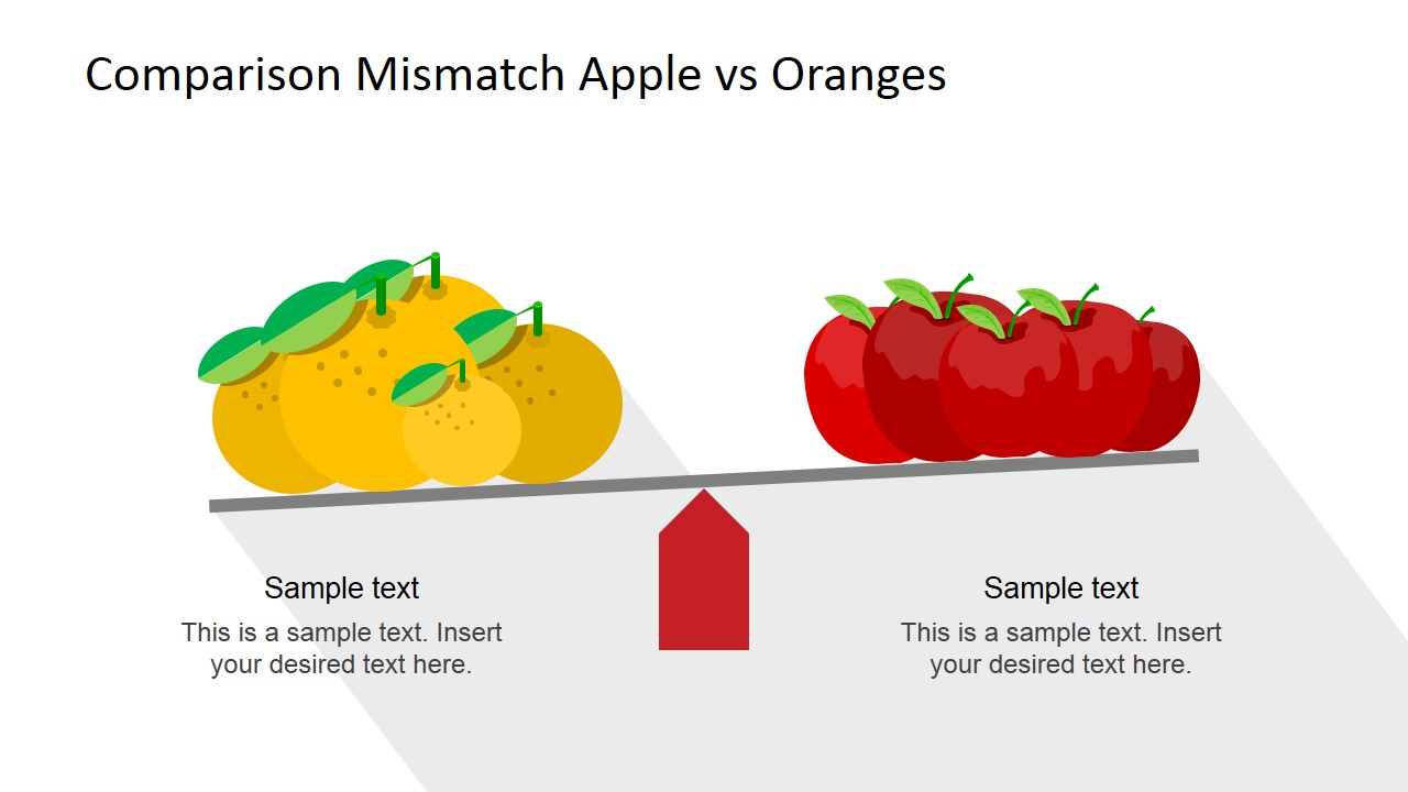 Group of Oranges and Apples Compared in Scale for PowerPoint