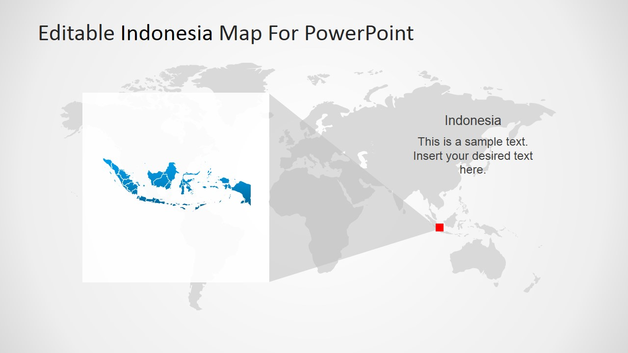 PowerPoint Magnified Indonesia Map in the World