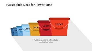 Seven Colored Buckets PowerPoint Clip Art Icons