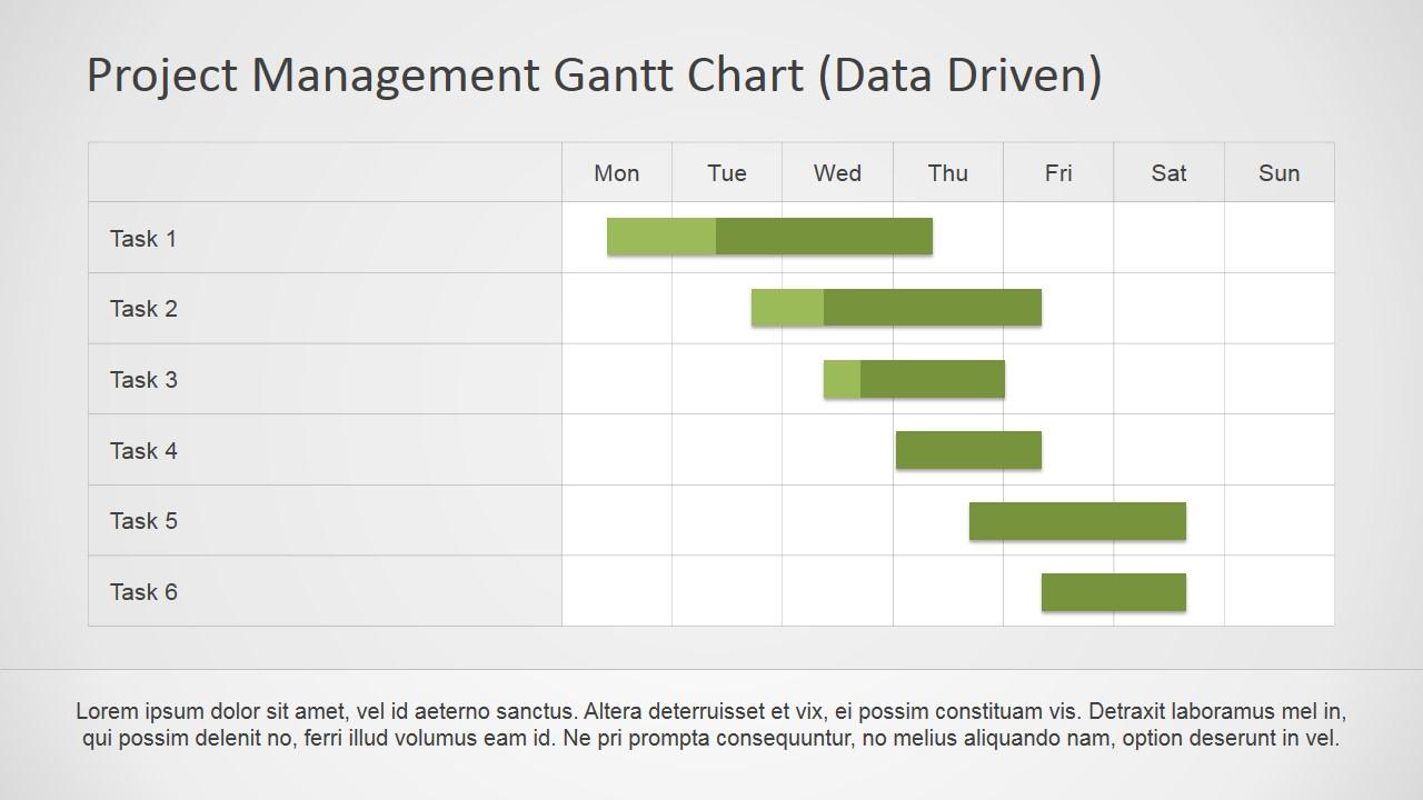 Project Tasks Progress Details via Gantt Chart