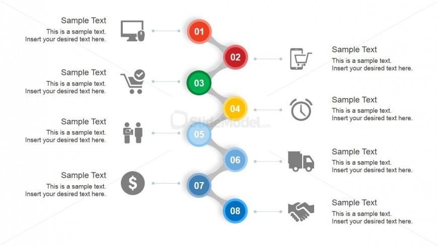 Creative Zig Zag Slide Design with 8 Steps & Vertical Layout