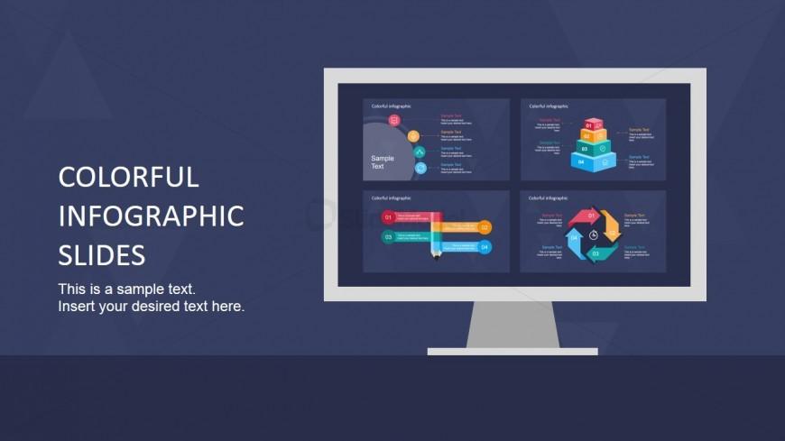 Monitor Slide Design Colorful Shapes