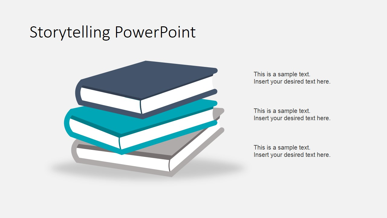 Storytelling theme powerpoint template slidemodel powerpoint books shapes in 3d material flat design toneelgroepblik