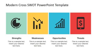 Horizontal Flat SWOT PowerPoint Slide Layout