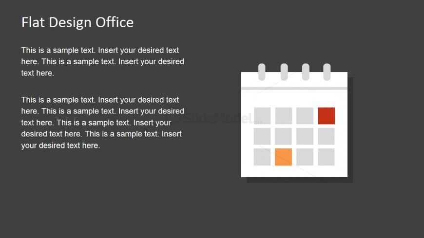 Flat Calendar Shape for PowerPoint