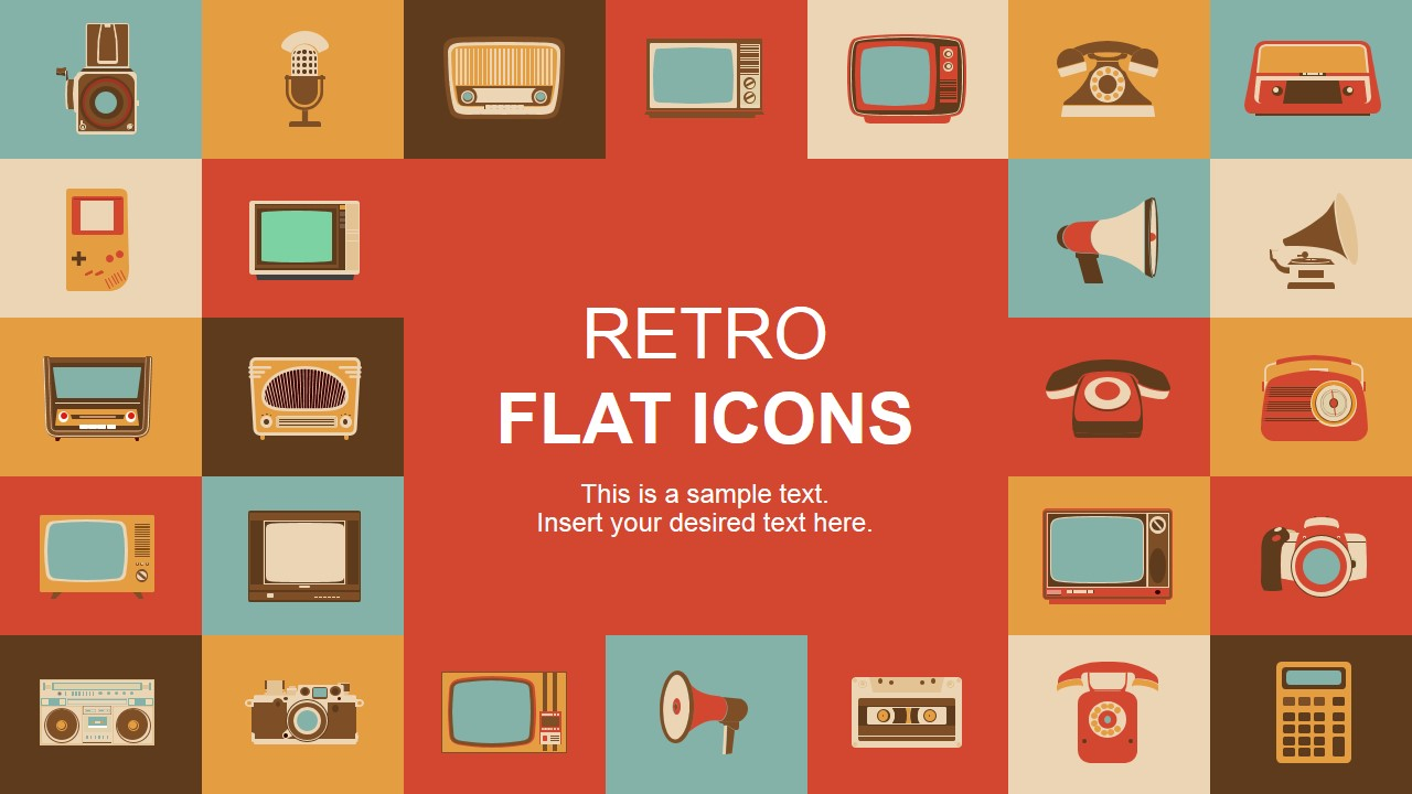 Retro Flat Powerpoint Icons Slidemodel