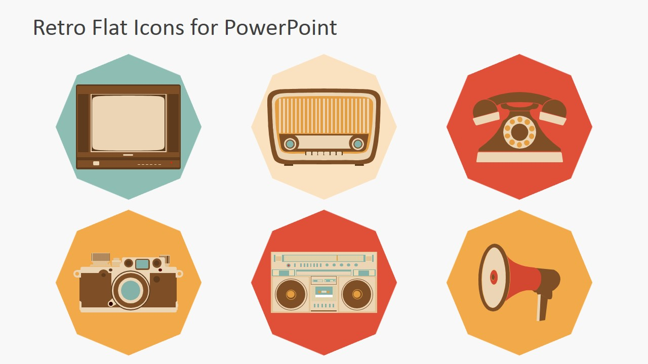 Retro PowerPoint Icons Featuring Broadcasting and Photography