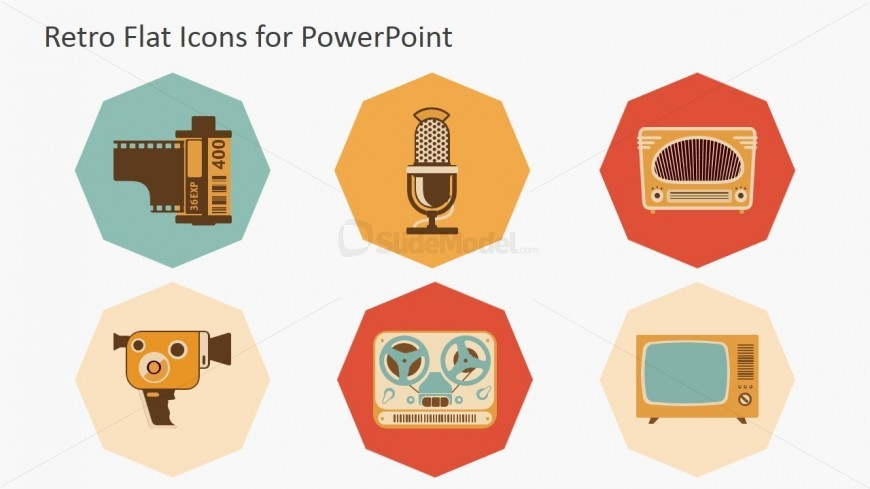 Technology Devices of the Eighties PowerPoint Icons