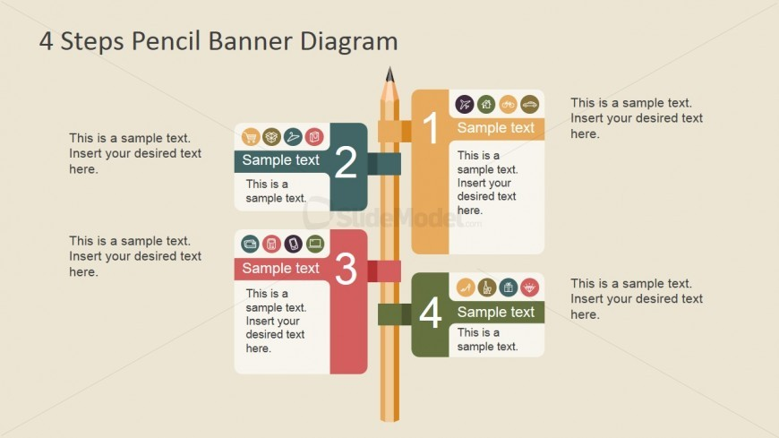 Numbered Banners Attached to Wooden Pencil