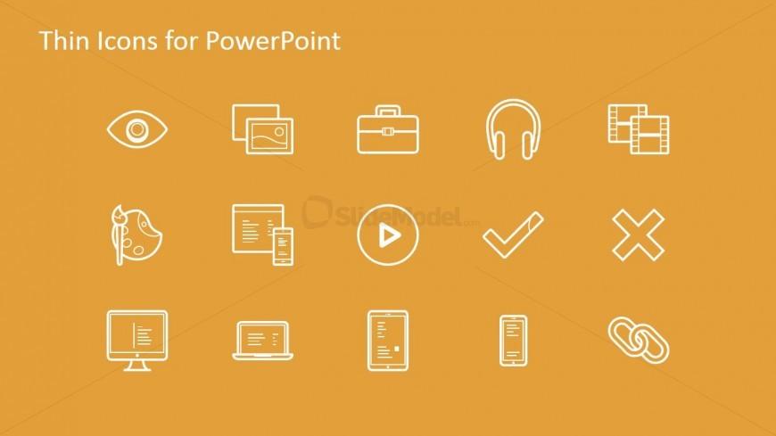 15 Thin Icons Over Orange Background