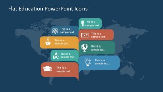 PowerPoint Slide with Infographic Banners featuring Education Icons