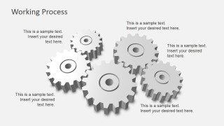 3D White Gears Representing Working Process