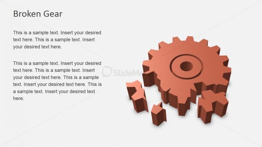 3D Broken Gear Illustration for PowerPoint - SlideModel