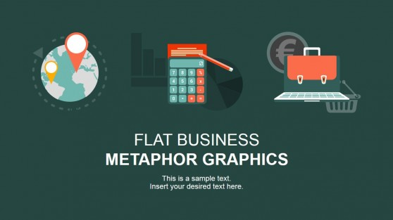 Flat PowerPoint Icons Targeting Calculator and E-Business