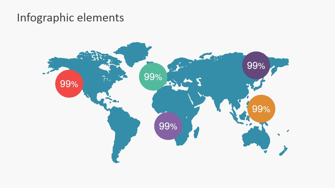PowerPoint Editable World Map with Percentage Labels