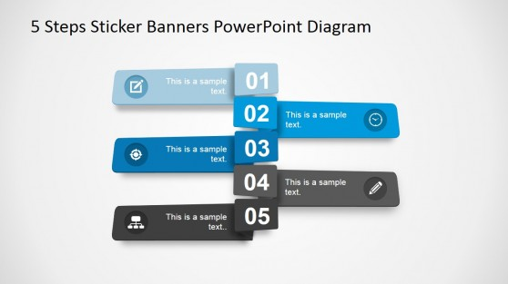5 Steps Sticker Diagram Design for PowerPoint