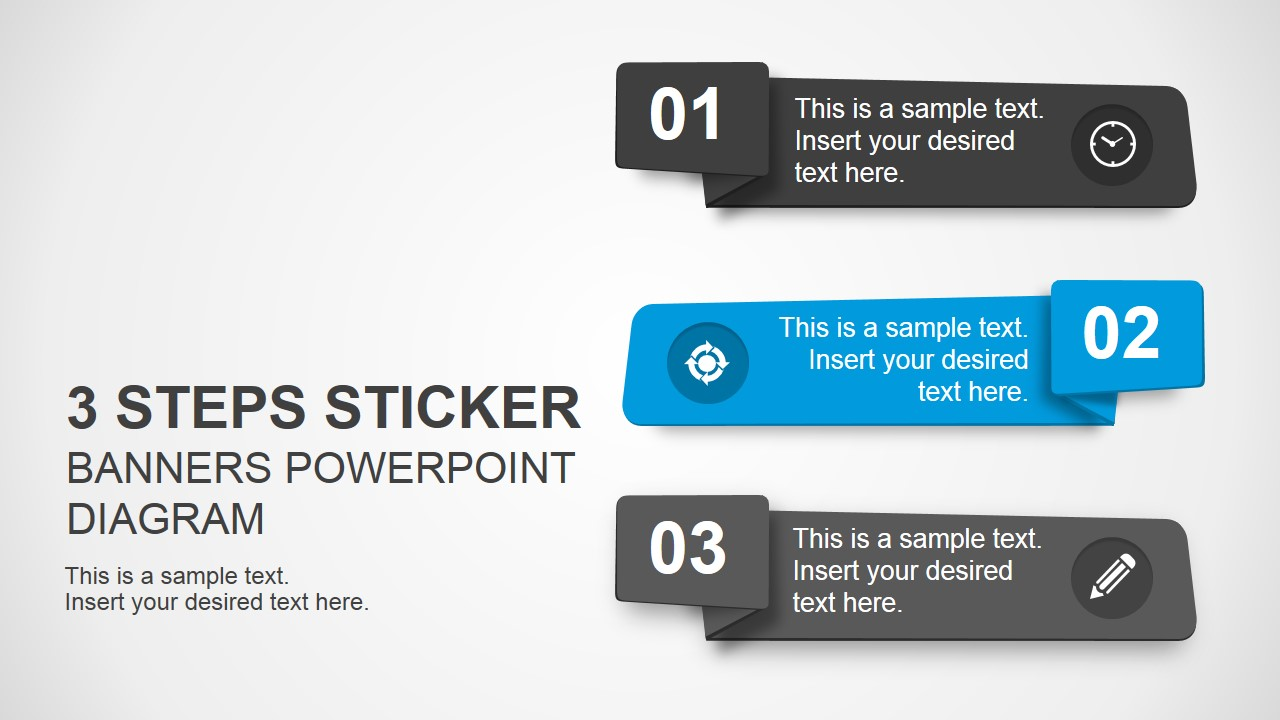 3 Step Sticker Banners For PowerPoint